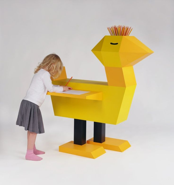 Kids Room:Animal Shaped Yellow Wood Table Baby Chicken Shaped Yellow Wood Drawing Table Cool Kids Table and Chair Designs