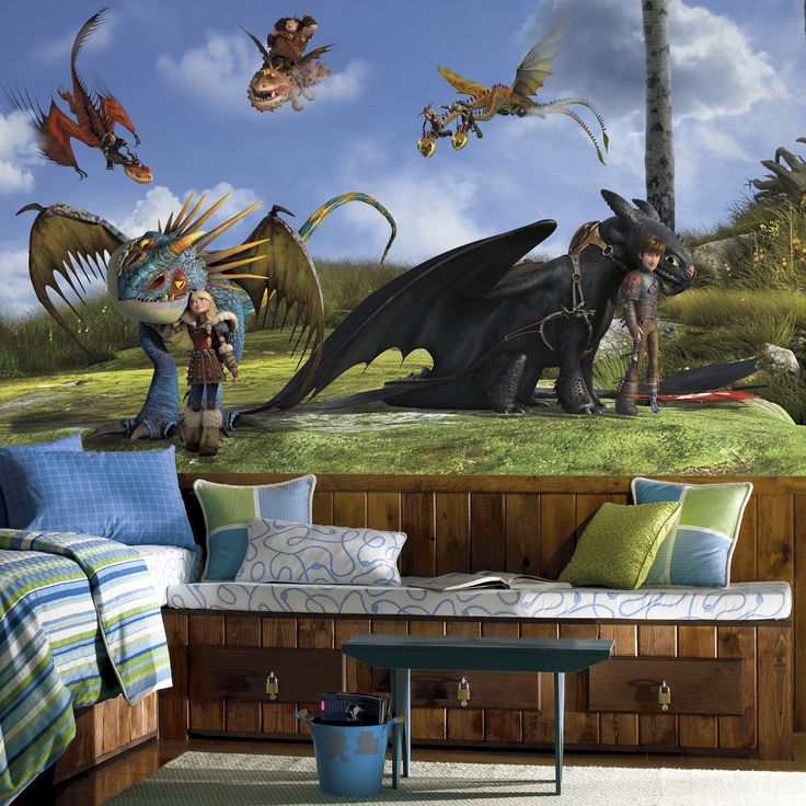 Bring adventure into the room of your 'How to Train Your Dragon' lover with this seven-panel mural from RoomMates Decor. Hanging this mural is easy, and it peels away without harming the wall. Mural f