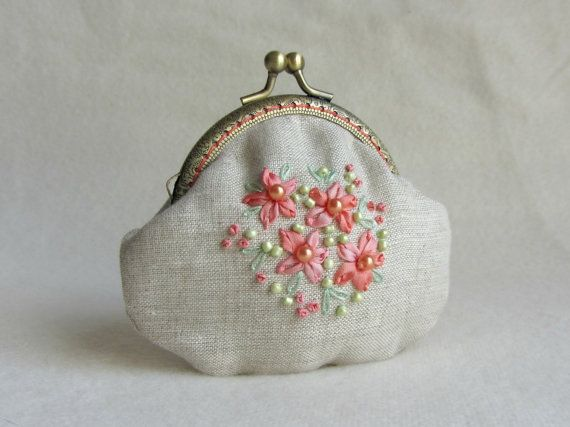 Hand embroidered coin purse embroidered linen purse by JRsbags,