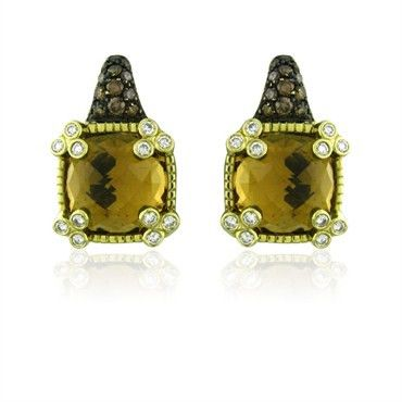 Judith Ripka 18K yellow gold earrings featuring citrines and decorated with…