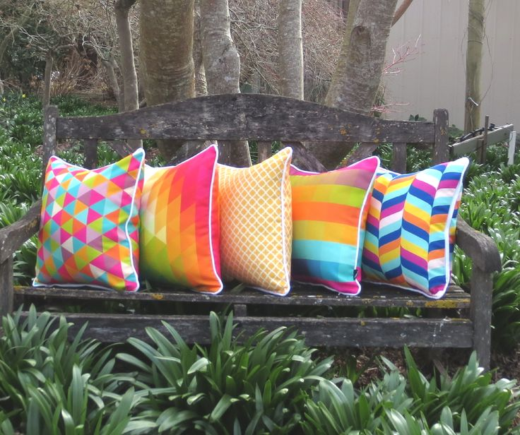 Bright colourful funky cushions! Perfect for use indoors and outdoors.