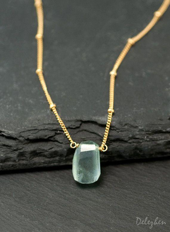 Raw Aquamarine Necklace - Gold Satellite Chain - Rough Gemstone Crystal Nugget Boho Style Layering Jewelry - March Birthstone Pendant