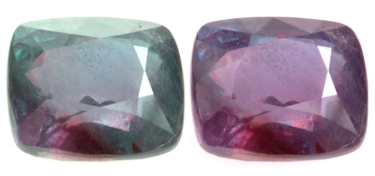 June Birthstone - Alexandrite. A unique and high valued stone for experts, enthusiasts and connoisseurs. This mysterious gem will change color on exposure to different light sources. It is considered a stone of very good omen. In critical situations it is supposed to strengthen the wearer's intuition, and thus help him or her find new ways forward in situations where logic will not provide an answer. Alexandrite is also reputed to aid creativity and inspire the imagination.: Gemstones, Incandescent Lights, Alexandrite, Green, Cushions, Colors Changing, Rocks, Minerals, June Birthstones