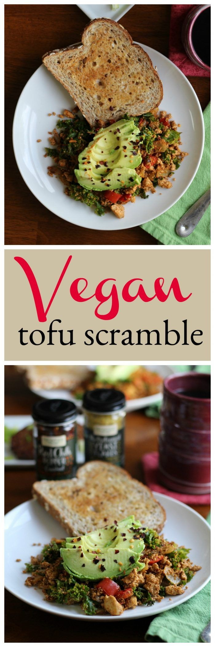 This vegan tofu scramble is loaded with kale, red bell pepper, onions, and spices. It's topped with avocado. Add breakfast potatoes or toast for a filling and hearty brunch. #vegan #brunch #breakfast via @cadryskitchen