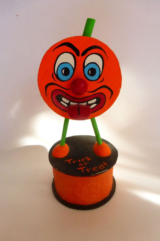 pumpkin man halloween decor vintage candy container style sticking tongue out - Vintage Style Halloween Decorations