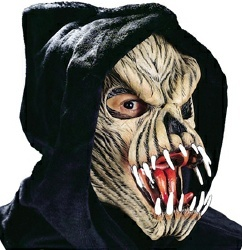 fang face scary halloween alien mask with black hood august semiannual halloween mask