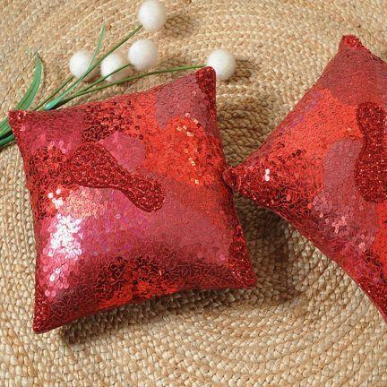 Shahenaz Home Shop Contemporary Cushion Cover Red,Single Cushion Cover-Christmas-Catalog