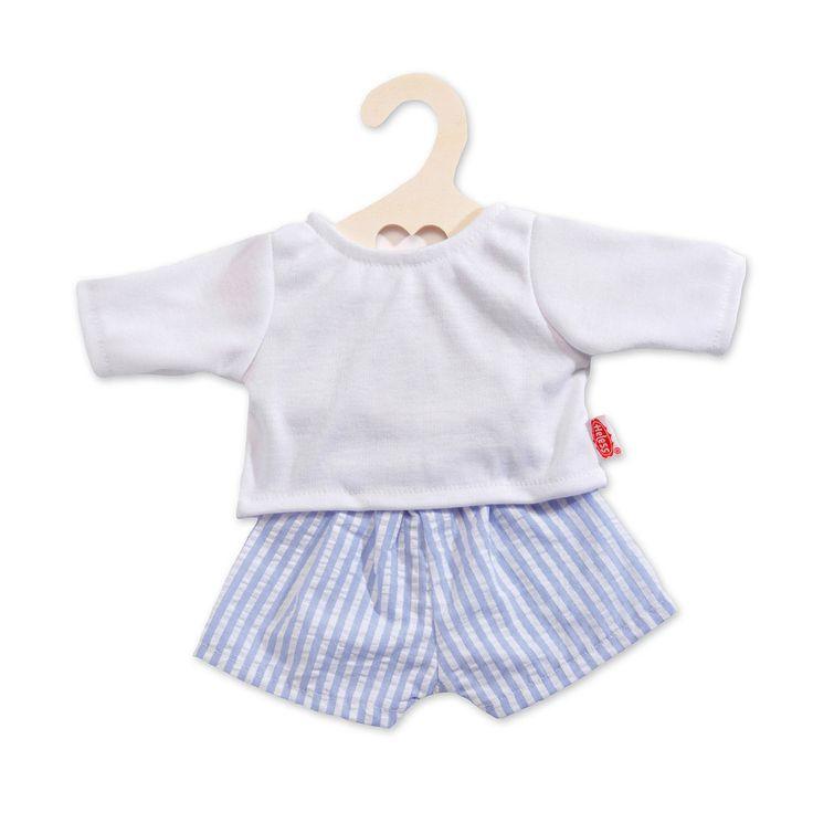 Gestreepte poppenboxershort met een effen wit T-shirt.Geschikt voor poppen van 35 tot 45 cm. Afmeting: geschikt voor poppen van 35 - 45 cm - Poppen Boxershort met Shirt - Blauw, 35-45 cm