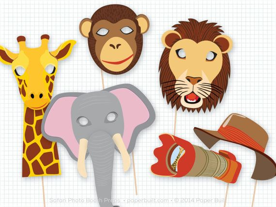 Safari Party Photo Booth Props Safari Birthday by PaperBuiltShop