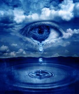 Crying Eye in clouds