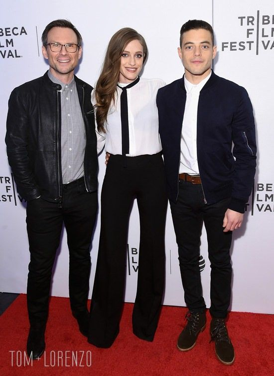 "Christian Slater, Carly Chaikin and Rami Malek attend ""Hacked By Def Con & Mr. Robot"" -during the 2016 Tribeca Film Festival at the Festival Hub in New York City."