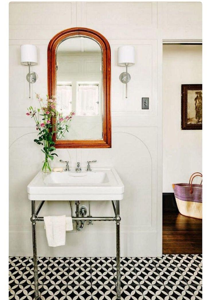 Baño #mosaico #blancoynegro #suelohidraulico #bathroom #tiles #cementiles