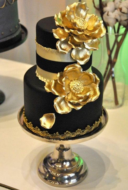 Brown and gold cake by The Wedding Cake Shoppe at …