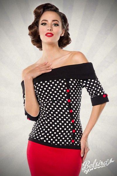 """""""Jersey-Top""""    - schulterfreie Bluse - kurze Ärmel mit Manschetten - dekorative Knopfleiste mit Stoffknöpfen - nahtfeiner Reißverschluss in der hinteren Mitte - Rückenlänge in Größe XS ca. 52cm - endkundengerechte Verpackung - hochwertige Qualität"""