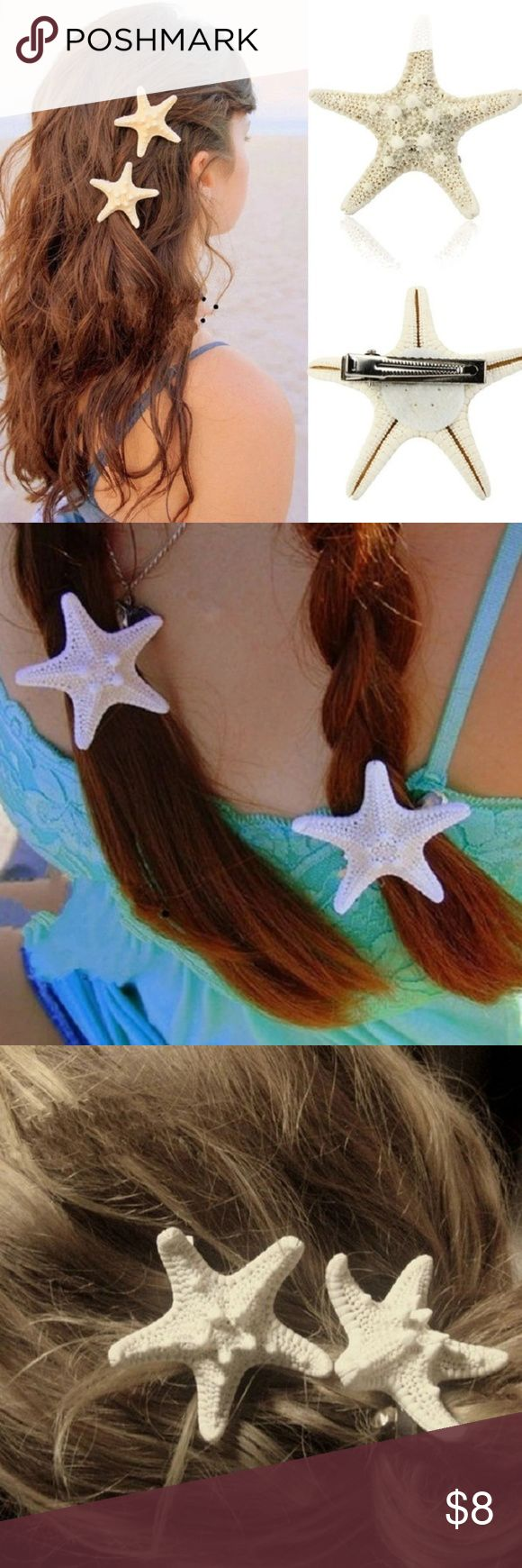 Natural Starfish Hair Clip (1 pc) Beautiful handmade dried sea star hair clips in a beige shade.  Size varies (1-2 inches in diameter)  1 for $8 2 for $13 3 for $19  Price is firm. Accessories Hair Accessories
