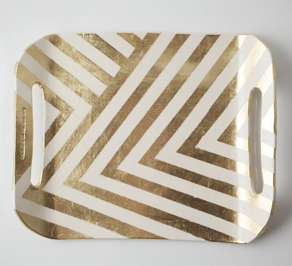 gold chevron tray   up in the air somewhere