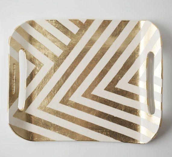 metallic!: Chevron Patterns, Sprays, Idea, Memorial Tables, Masks Tape, Serving Trays, Stripes, Chevron Trays, Gold Chevron