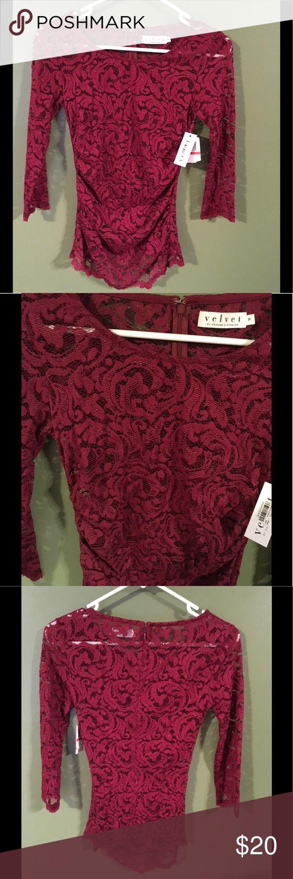 Velvet by Graham & Spencer Maroon Lace Blouse 💋 Brand new with tags. Velvet by Graham & Spencer Tops Blouses