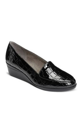Aerosoles Women's True Match Tailored Wedge Loafer - Black - 10.5M
