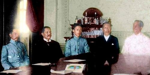 General Gregorio del Pilar (third from left) headed the four-member Filipino peace commission who tried but failed to negotiate an armistice with U.S. First Philippine Commission (Schurman Commission) at Malate district, Manila in 1899.