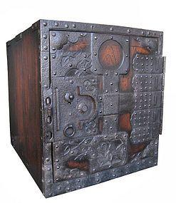 interesting hardware on this Japanese Antique Funedansu (Ship Safe)
