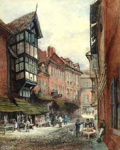 This 19th Century painting shows that Butcher Row remained a street at this time dominated by the meat trade as it had been since the medieval period. The Elizabethan house in the foreground was removed in the 1930s.