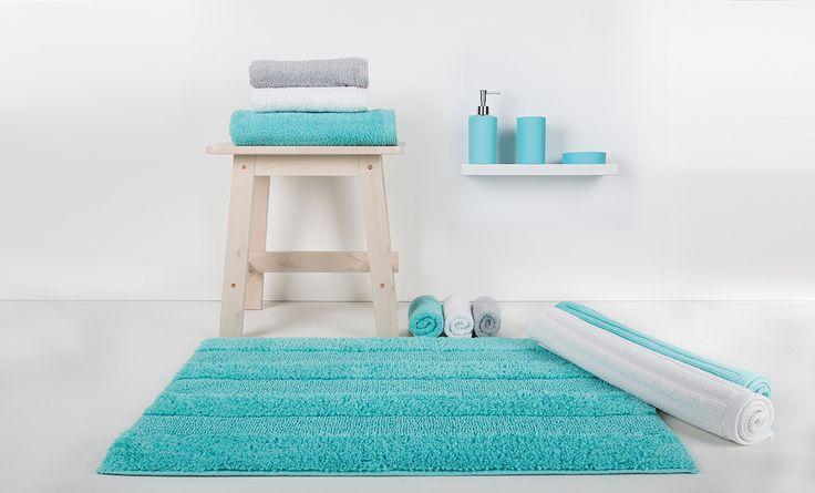 New Plus Range: a 24 colour range of bath rugs, bath mats and bath towels.