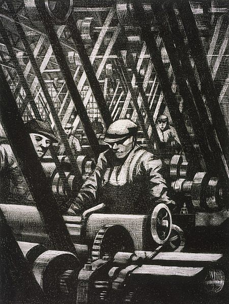 C.R.W Nevinson Building Aircraft: Making the Engine (from the series 'The Great War: Britain's Efforts and Ideals') Dated 1917 (published 1918)