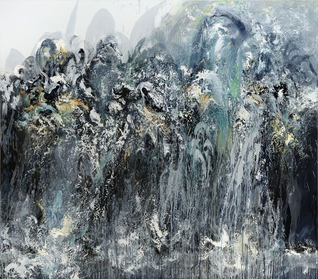 Wall of water V, 2011, by Maggi Hambling. Currently her work fills an excellent room in the National Gallery, complementing the Peder Balke display.