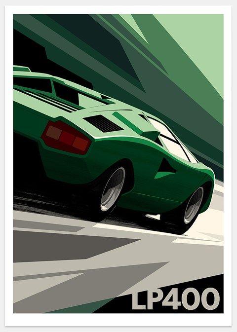 Lamborghini Countach print by Guy Allen - www.guyallen.co.uk