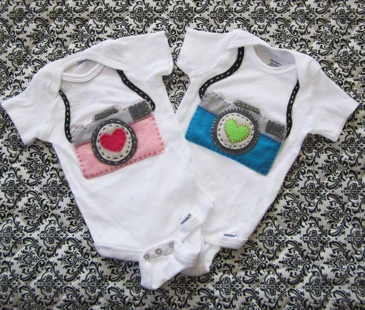 Custom Felt Camera Baby Onesie or shirt. $20.00, via Etsy.