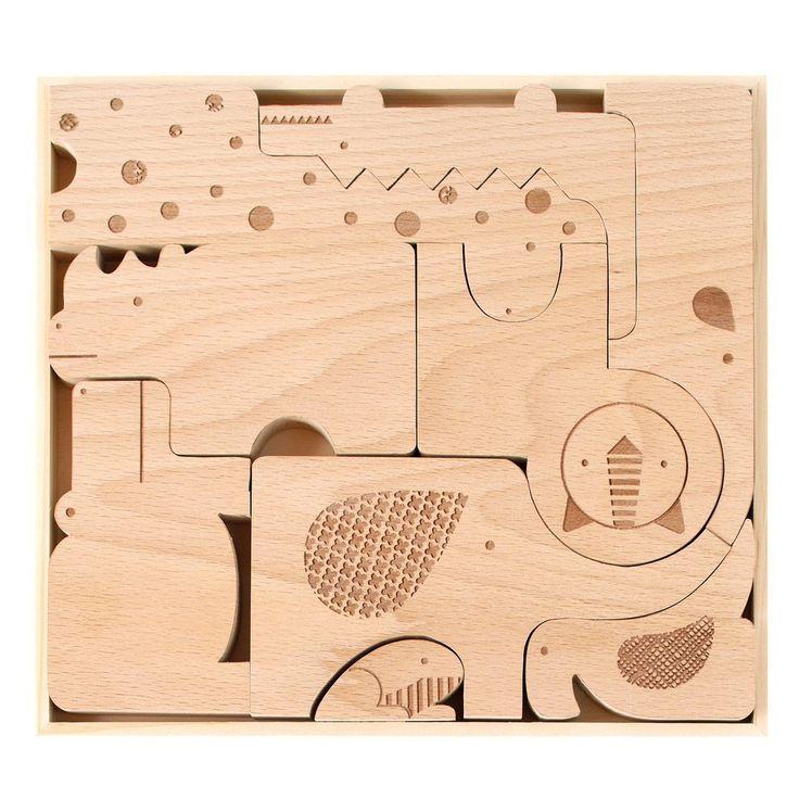Petit Collage: Safari Jumble Wood Puzzle + Play Set