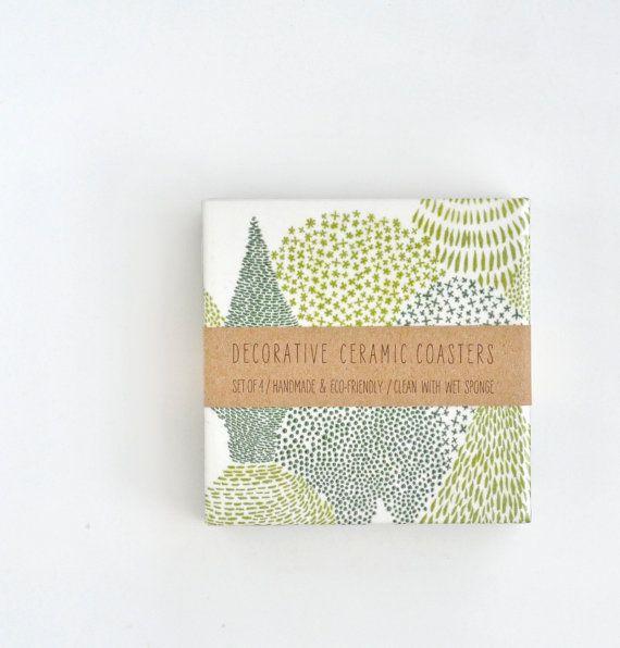 Sempreverde foresta ceramica Tile Coasters smeraldo di Tilissimo