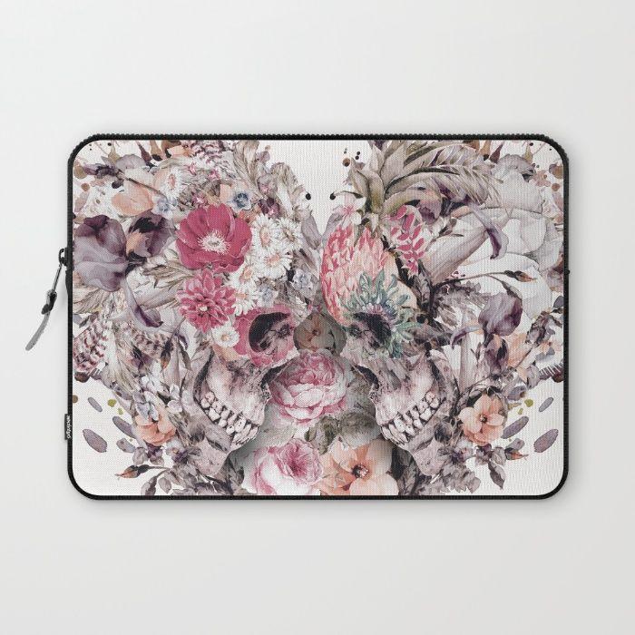 Momento Mori VIII Laptop Sleeve #skull #love #heart #flowers #digitalart #society6