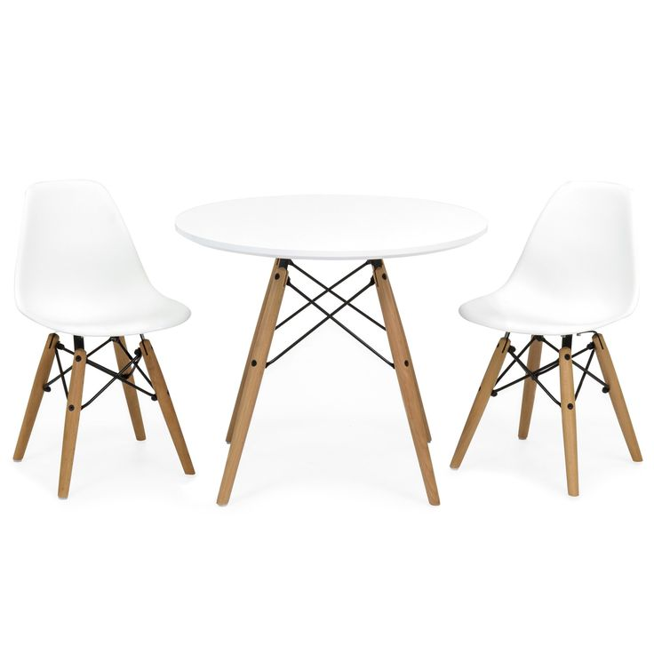 Kids Eames Style Modern White Round Table Set w/ 2 ABS Easy Clean Chairs