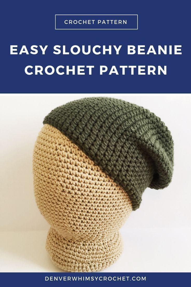Slouchy Beanie Crochet Pattern Easy Basic Slouch Beanie Pattern
