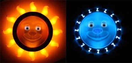 Teaches kids to stay in bedtill the moon turns to a sun.just like real life! Lolol Good Nite Lite