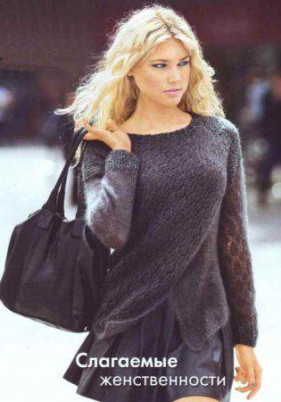 Женственный пуловер из мохера по достоинству оценит каждая вязальщица. Классические линии и строгий серый цвет - слагаемое успеха