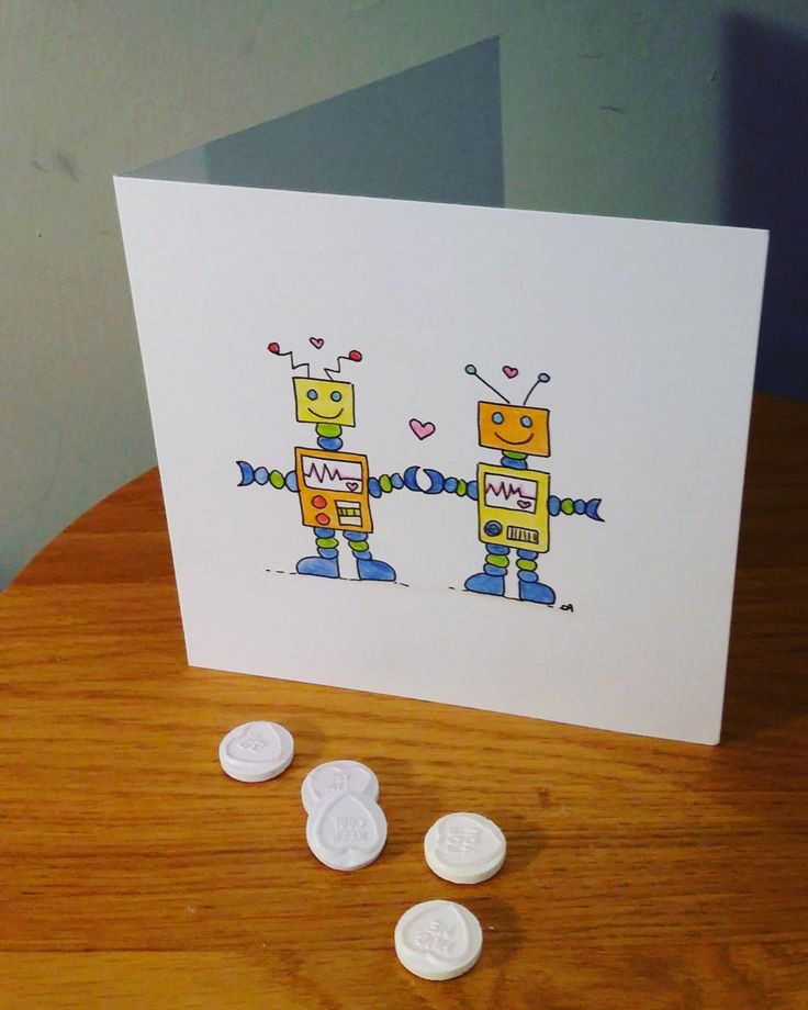 Robots in love, valentine's day card, love cards by CharlotteadcockArt on Etsy