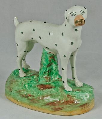 "Antique Staffordshire Dog Dalmatian 6"" Green glaze base c.1890"