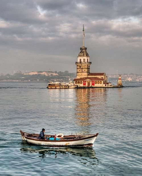 Seen - Maiden Tower on the Bosporus Istanbul. Sitting between Europe and Asia and easily viewed close up from one of the inexpensive commuter ferries that cross the straits.