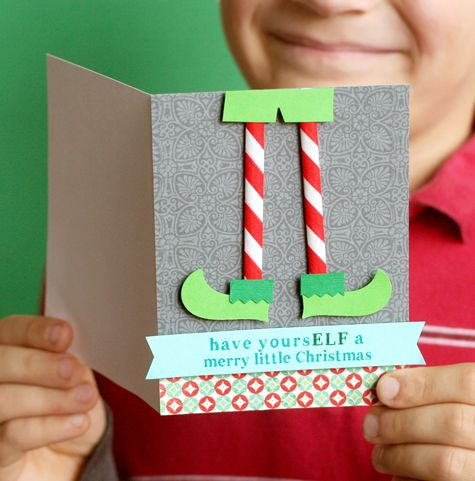 Punny Christmas Card Elf feet