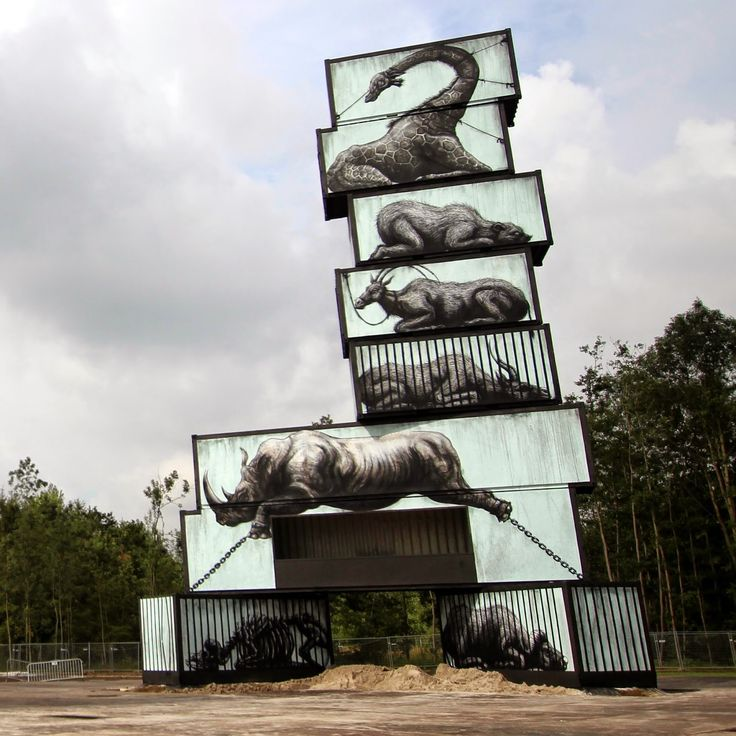 Striking Cargo Containers painted by ROA, Defo, Pichi & Avo, Jen Zie and Martin Ron BELGIUM