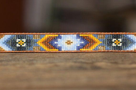 Loving tribal patterns! Loom beaded leather bracelet from LeiselHandmade on Etsy