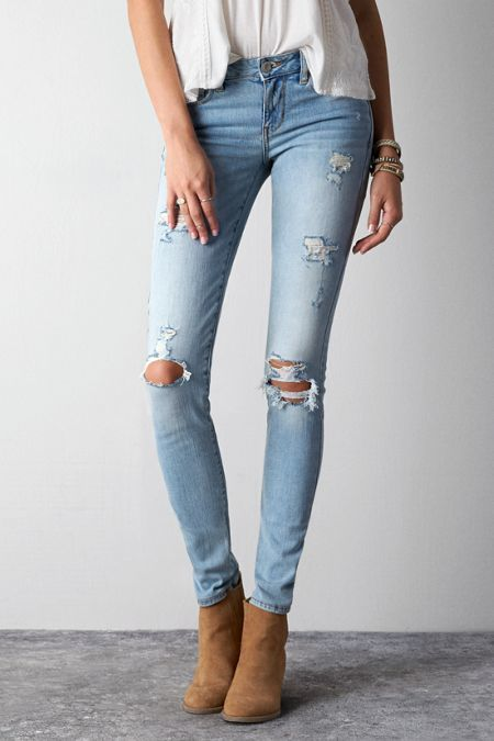 American Eagle Outfitters Light Destroy Wash Skinny Jeans, Womens By American Eagle