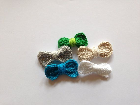 Bows applique Crochet applique Cotton by LittleFlowerbyGloria