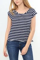 Tricou Zara Dama Dark Blue In White
