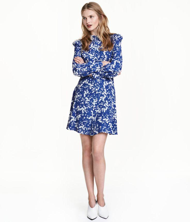 Gemustertes Kleid | Dunkelblau/Geblümt | Damen | H&M DE: 39,99€