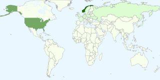 Diagram over de mest populære landene blant folk som har tilgang til å se bloggen