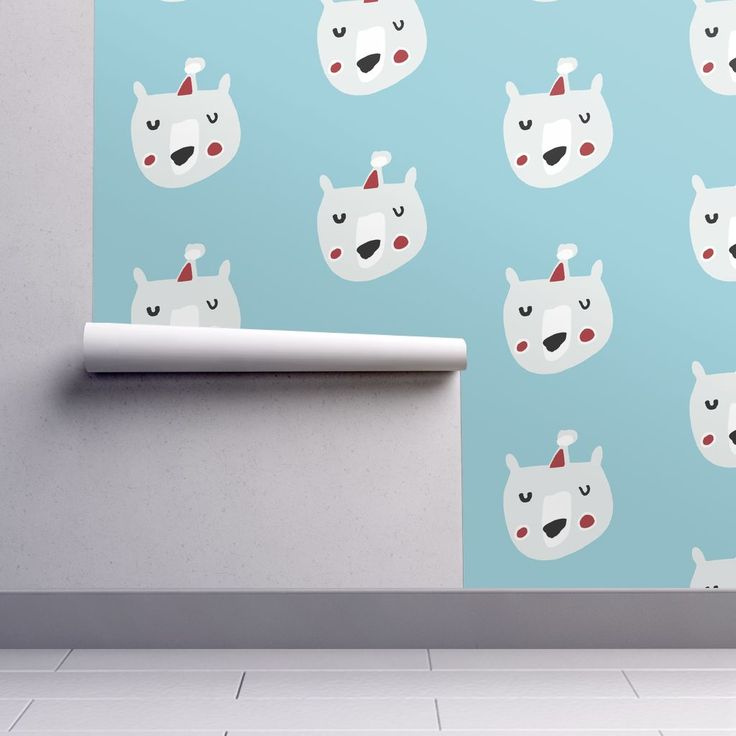 Isobar Durable Wallpaper featuring Cute Christmas santa bear blue by bruxamagica | Roostery Home Decor